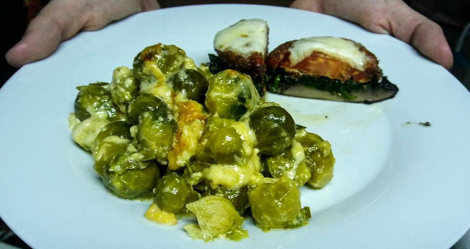Fried-Tomato-Portabello-Stacks-with-Brussel-Sprouts-Au-Gratin